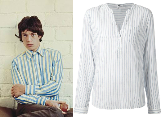 Mick Jagger striped shirt